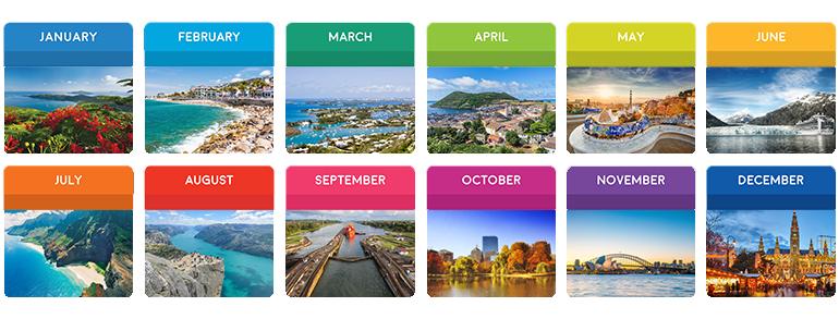 best cruise month year alaska caribbean europe
