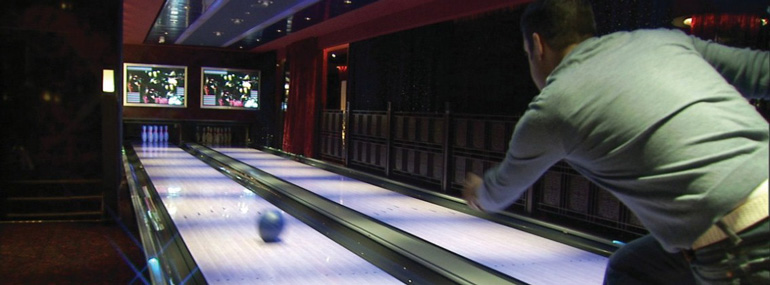 Which is the only cruise line with a bowling alley on three of its ships?