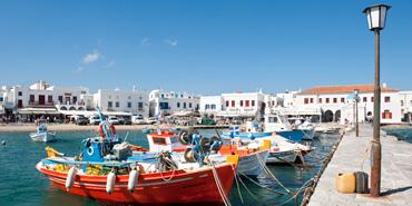 Boats in harbor of Mykonos, Greece