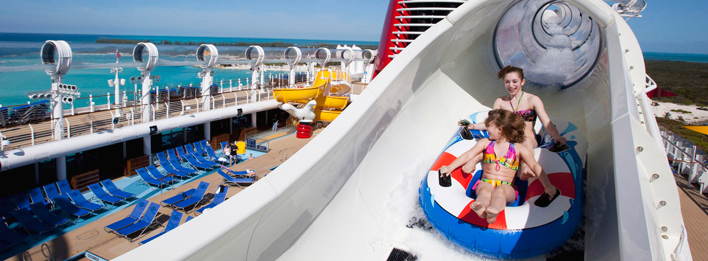 What is the name of the waterslide found on Disney Fantasy and Disney Dream?