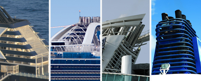 Identify the funnels on these ships: