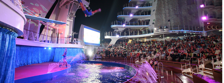 You can find the only high diving show at sea on this line: