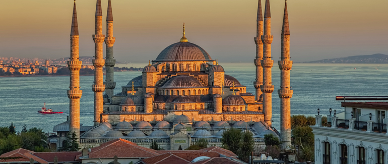 This Eastern Mediterranean Port is home to the Sultan Ahmed Mosque, known for the blue tiles decorating its interior walls.