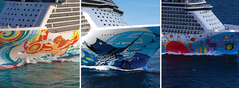 Name these ships by their hull art: