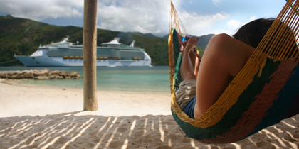 A cruises lounges in hammock