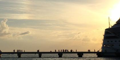 Passengers board a ship in Cozumel