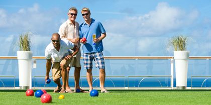 Playing bocce on a Celebrity ship