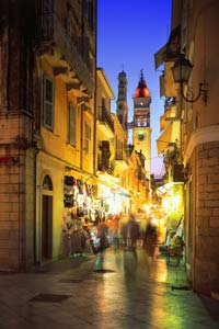 Old Town Corfu at night greece