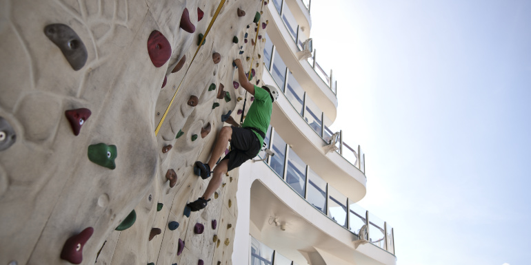 allure seas activities tips rock wall