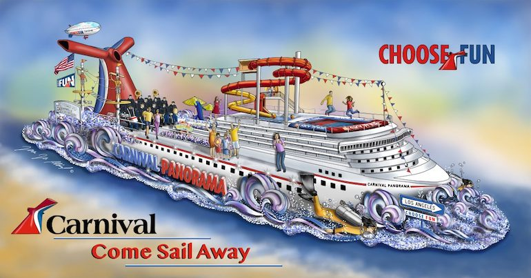carnival cruise line panorama rose parade float