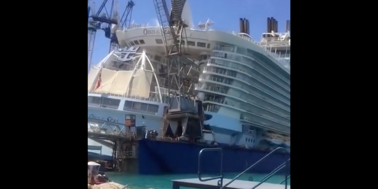 grand bahamas dry dock oasis crane collapse